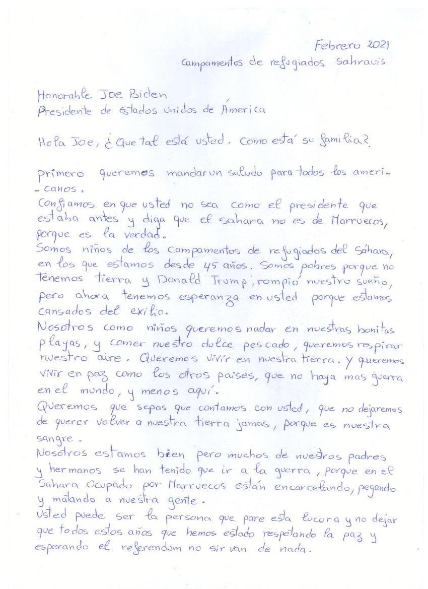HOLA, JOE (Carta de los niños saharauis al presidente Biden)